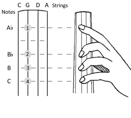 Cello position thumb