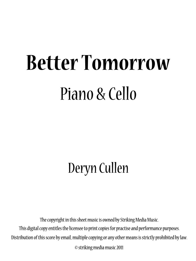 Better Tomorrow (Cello and Piano): Recording and Sheet Music