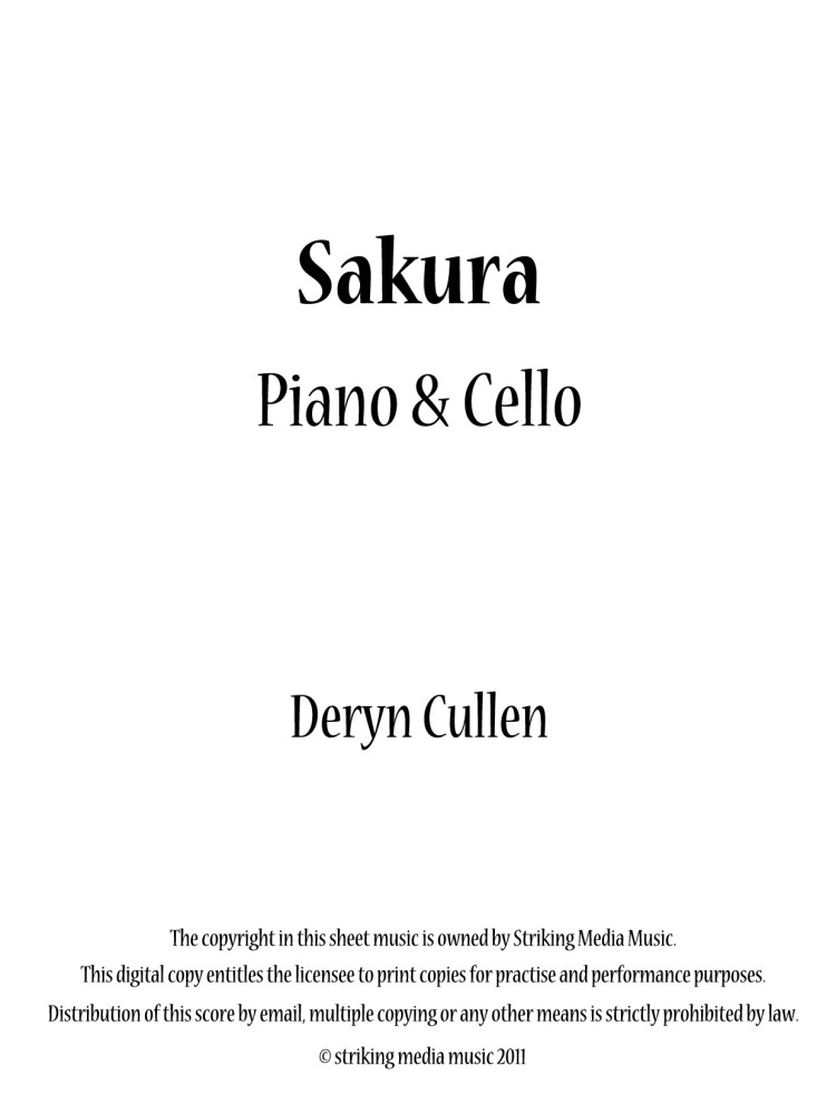 Sakura (Cello and Piano): Recording and Sheet Music